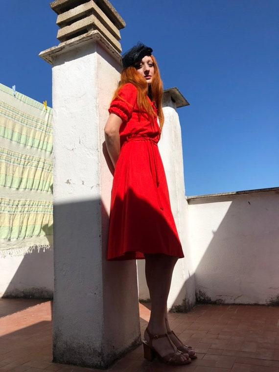1970s dress - vintage dress - little red dress - v