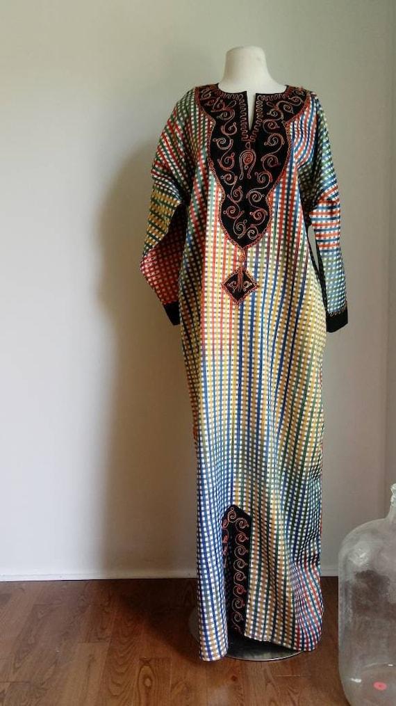 1970s Kaftan dress - colorful Kaftan dress - vinta