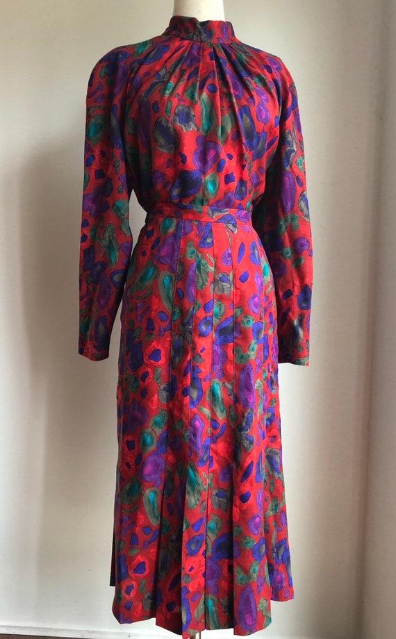 Vintage dress - 1980s dress - print dress - blouse