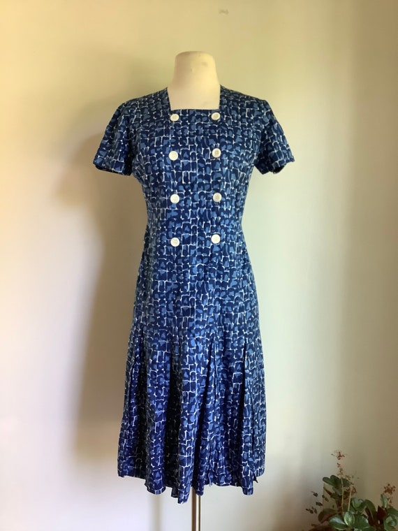 1950s cotton dress - vintage dress - vintage cotto