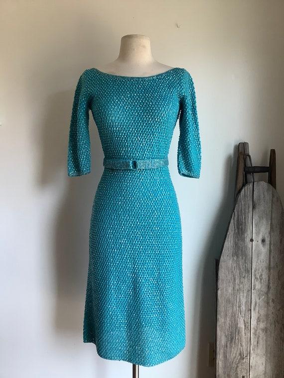 Vintage dress - vintage knit dress - 1950s dress -