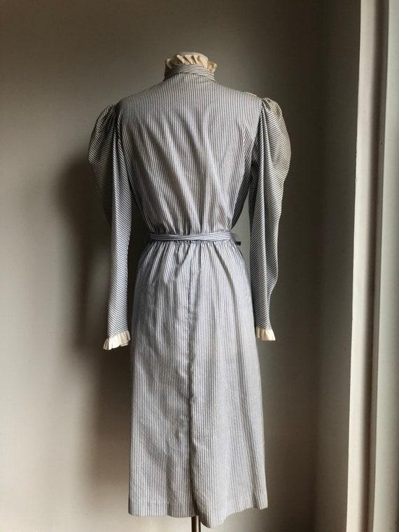 Vintage dress - cotton dress - striped dress - 19… - image 4