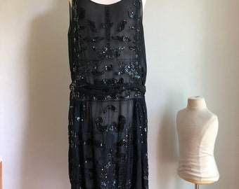 1920s dress - flapper dress - 1920s sequined dress - original flapper dress - vintage dress