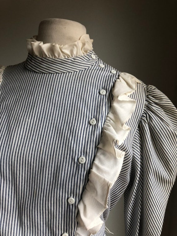 Vintage dress - cotton dress - striped dress - 19… - image 3