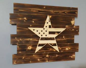 Stars and Stripes - American Flag Decor Rustic Patriotic Wall Art