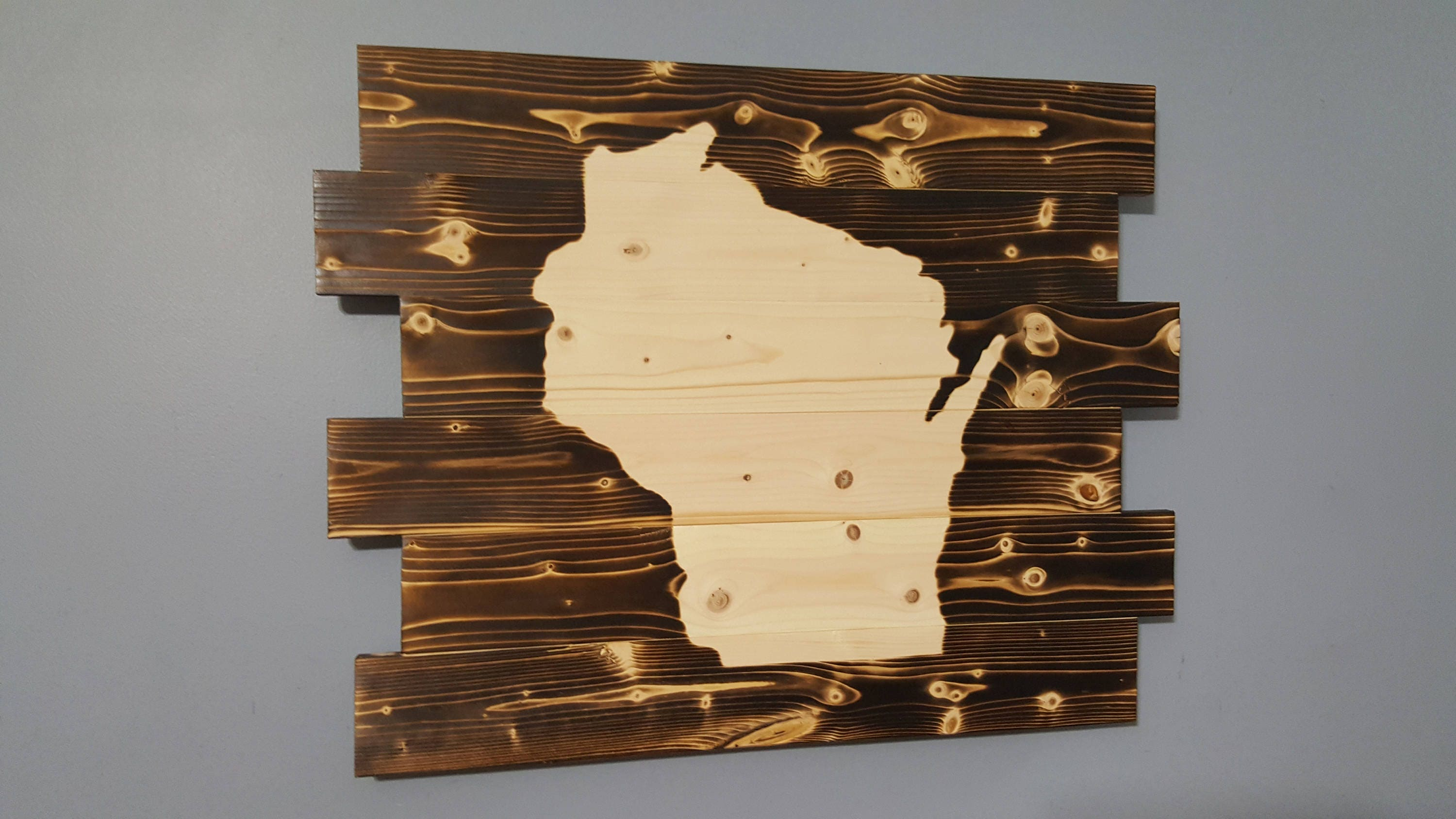 State of Wisconsin Silhouette Wooden Rustic Wall Art all