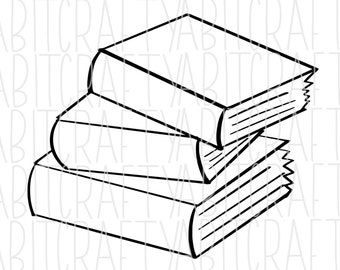Stacked Books svg, png, sublimation, digital download- hand drawn - !!DollarDeal!!