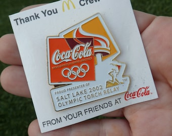 Coca-Cola, Metal Pin, Vintage, 2002 Olympics, Olympic Torch, Salt Lake City, Olympic Button, Olympic Pin, Coca-Cola Pin, Vintage Coca-Cola