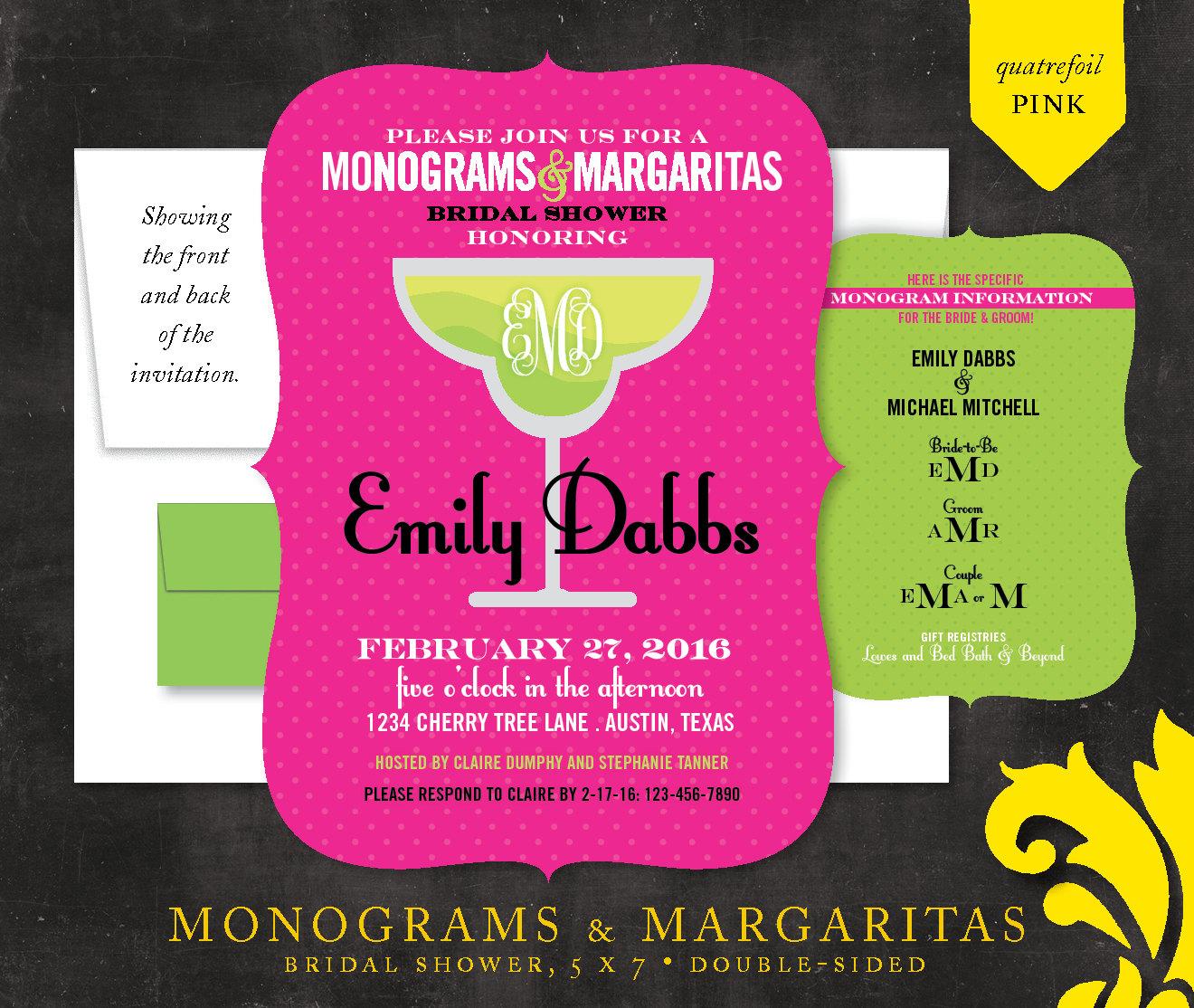 MONOGRAMS & MARGARITAS . bridal shower invitation | Etsy