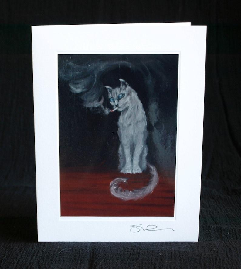 CARD Smoking Cat; Funny Card; Halloween Card; blank handmade photo greeting card