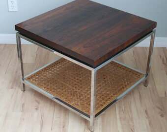 Mid Century Modern Drexel Index Rosewood Chrome And Cane Occasional End  Table