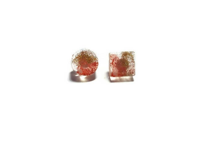 Peach-Gold earrings, resin earring studs, peach earring studs, modern earrings, small minimal gold peach earrings