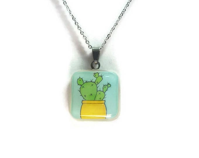 cute cactus pendant square shaped resin jewelry cactus jewelry cactus accessories cactus pendants stainless steel necklace