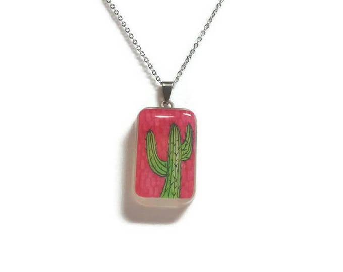 Pink cactus pendant green cactus pendant cactus necklace cactus resin jewelry cactus accessories stainless steel necklace