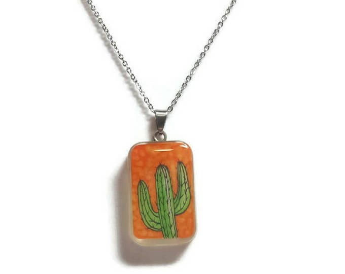 Orange Cactus resin pendant cactus necklace on stainless steel chain cactus jewelry cactus necklace resin jewelry accessories