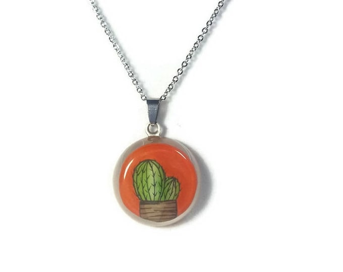 Orange Cactus pendant Necklace Round resin pendant with cactus cute cactus necklace on stainless steel chain cactus accessories