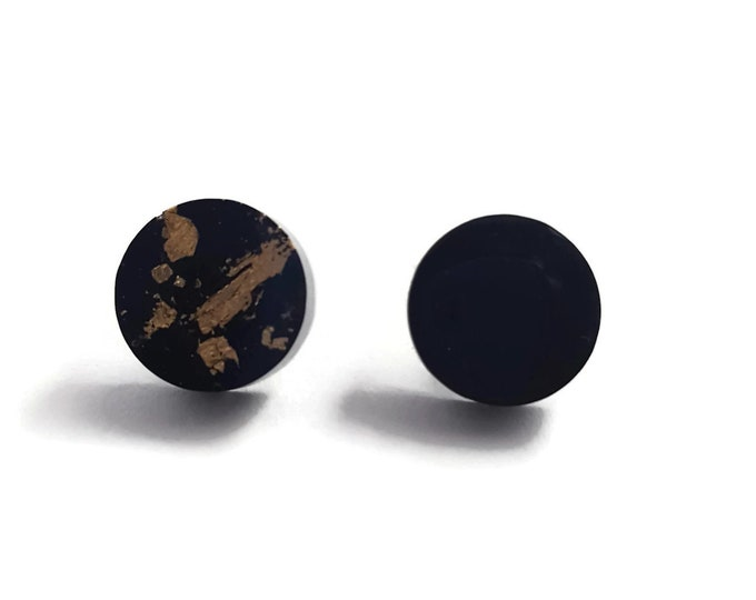 Mixed Matched Black and Gold stud earrings