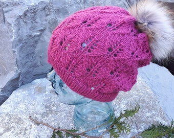 0224dce29b8 Baby Alpaca Ladies Lacy Hand Knit Slouch Hat With Over Sized Finnish Raccoon  Authentic Fur Pompom Removable Super Sumptuously Soft Pink
