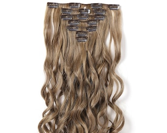 """20"""" Curly Clip in Hair Extensions - Full Head 7 pcs Synthetic Hair Pieces (R1416T#)"""