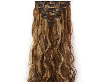 """20"""" Curly Clip in Hair Extensions - Full Head 7 pcs Synthetic Hair Pieces (12H24B)"""