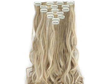 """20"""" Curly Clip in Hair Extensions - Full Head 7 pcs Synthetic Hair Pieces (16H613#)"""