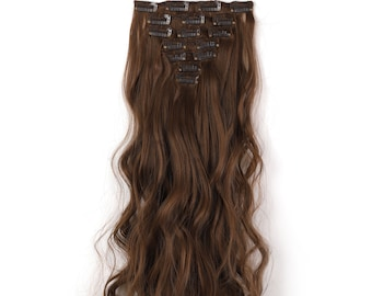 """20"""" Curly Clip in Hair Extensions - Full Head 7 pcs Synthetic Hair Pieces (10#)"""