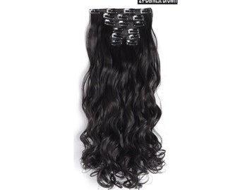 "20"" Curly Clip in Hair Extensions - Full Head 7 pcs Synthetic Hair Pieces (2#-Darkest brown)"