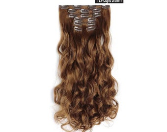 "20"" Curly Clip in Hair Extensions - Full Head 7 pcs Synthetic Hair Pieces (12#-light Brown)"