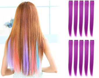 """23"""" Straight Synthetic Colored Party Highlight Clip in Hair Extensions (51P-Purple)"""