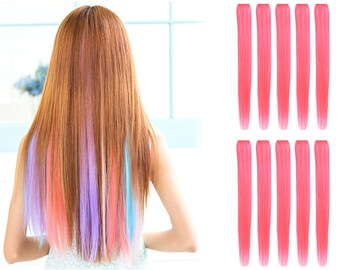 """23"""" Straight Synthetic Colored Party Highlight Clip in Hair Extensions (8C-Pink)"""