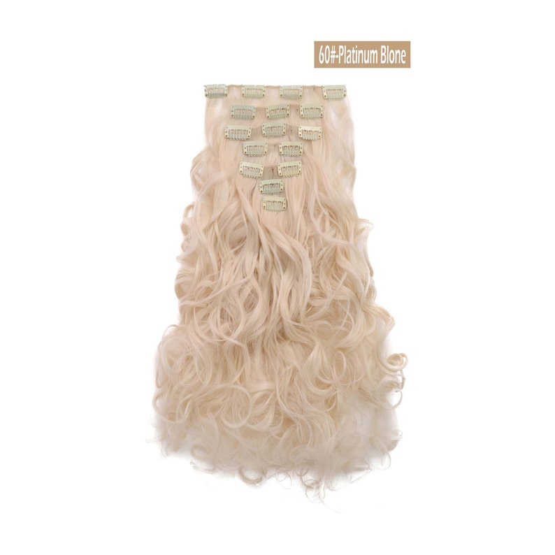 20 Curly Clip in Hair Extensions  Full Head 7 pcs image 1
