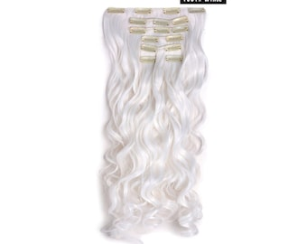 """20"""" Curly Clip in Hair Extensions - Full Head 7 pcs Synthetic Hair Pieces (1001#- White)"""