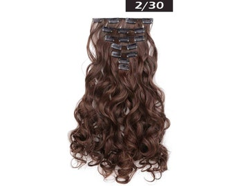 "20"" Curly Clip in Hair Extensions - Full Head 7 pcs Synthetic Hair Pieces (2/30)"
