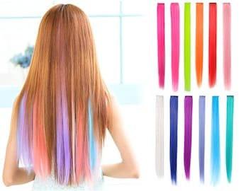 """23"""" Straight Synthetic Colored Party Highlight Clip in Hair Extensions (12 Pieces)"""