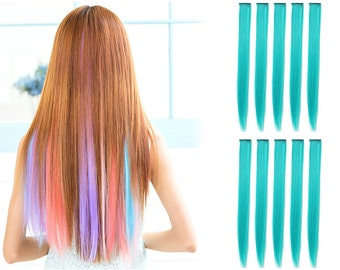 """23"""" Straight Synthetic Colored Party Highlight Clip in Hair Extensions (20C-Teal)"""