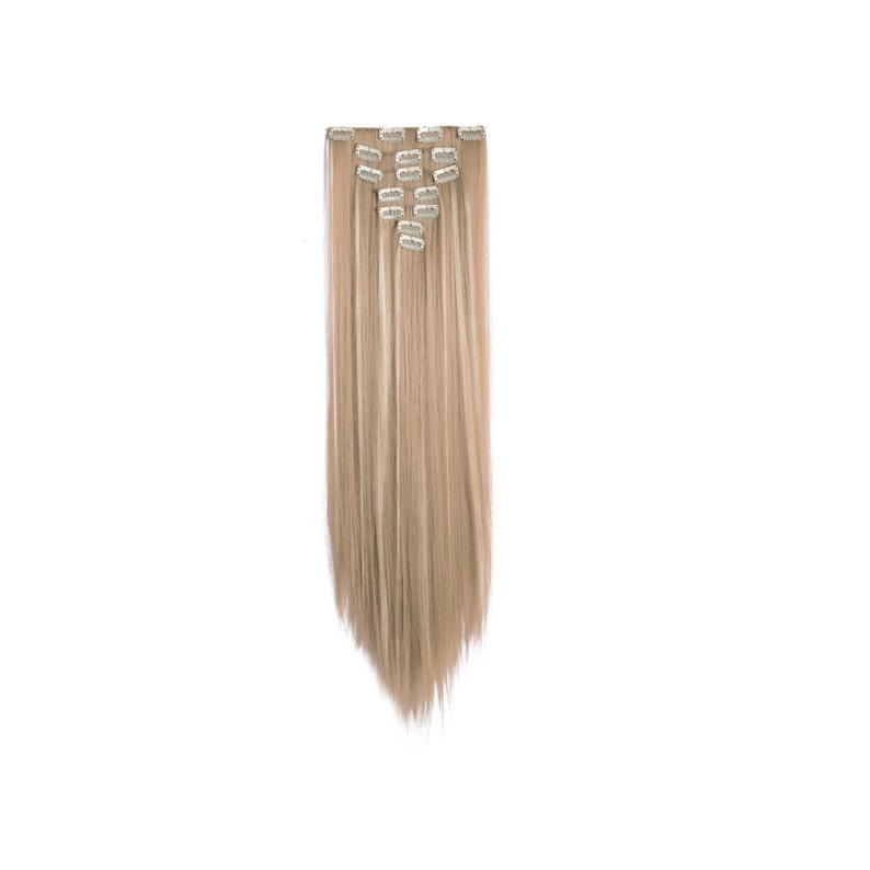 24 Straight Full Head Clip in Synthetic Hair Extensions image 0