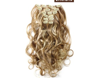 "20"" Curly Clip in Hair Extensions - Full Head 7 pcs Synthetic Hair Pieces (27XH613 Highlights)"