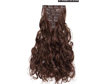"20"" Curly Clip in Hair Extensions - Full Head 7 pcs Synthetic Hair Pieces (8#-Medium Ash Brown)"