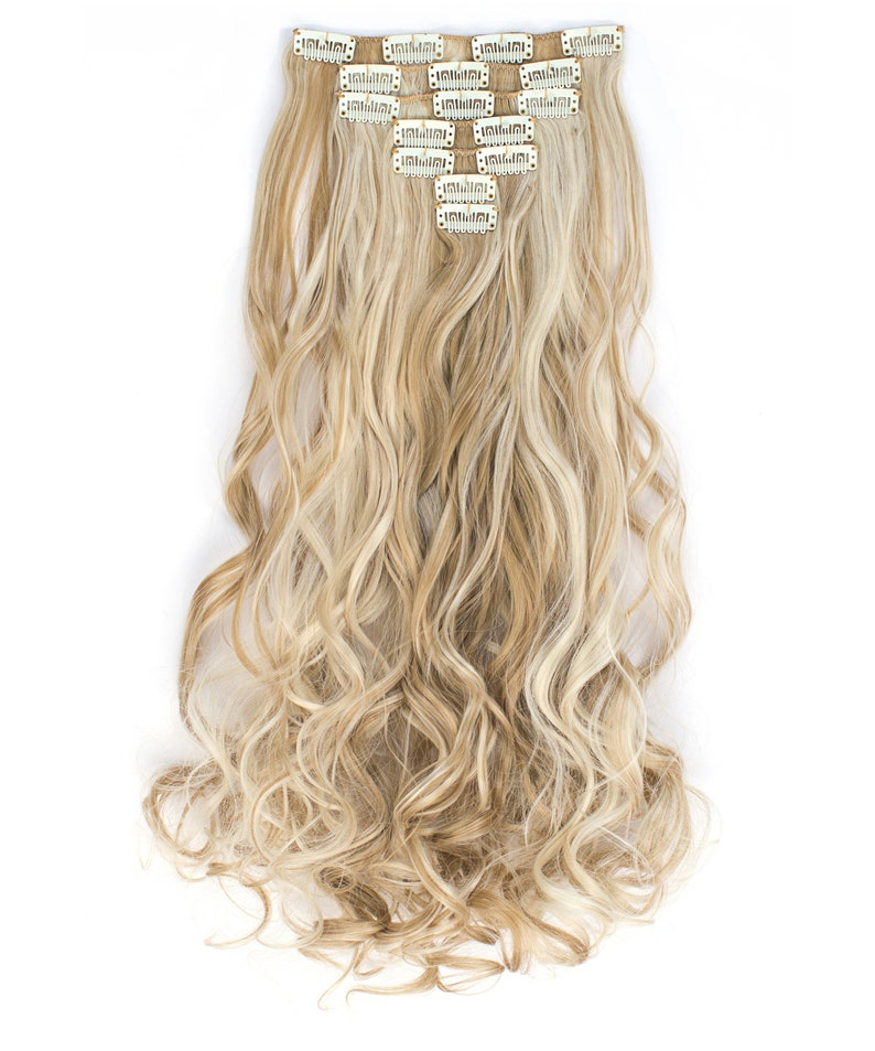20 Curly Clip in Hair Extensions  Full Head 7 pcs image 0