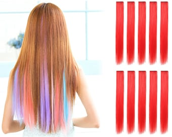 """23"""" Straight Synthetic Colored Party Highlight Clip in Hair Extensions (113-Red)"""