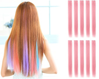 """23"""" Straight Synthetic Colored Party Highlight Clip in Hair Extensions (65C-Light Pink)"""