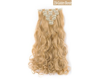 "20"" Curly Clip in Hair Extensions - Full Head 7 pcs Synthetic Hair Pieces (25#-light Golden Blonde)"