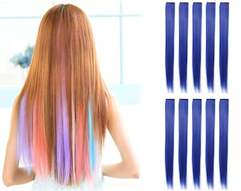 """23"""" Straight Synthetic Colored Party Highlight Clip in Hair Extensions (61C-Blue)"""