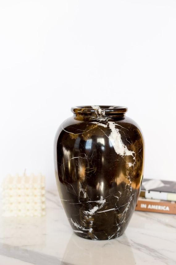 Solid Black Marble Urn Or Vase Etsy