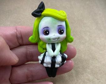 Beetlejuice inspired clay doll, decor , embellishment, hair bow, badge reel, ID Badge