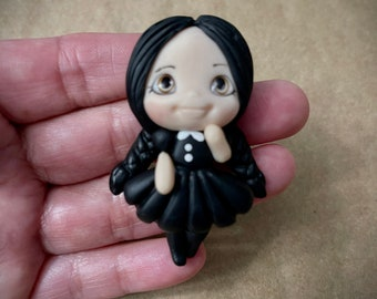 """Adam's Family """"Wednesday"""" inspired clay embellishment to compliment any craft, hair bow center, clay character, halloween"""