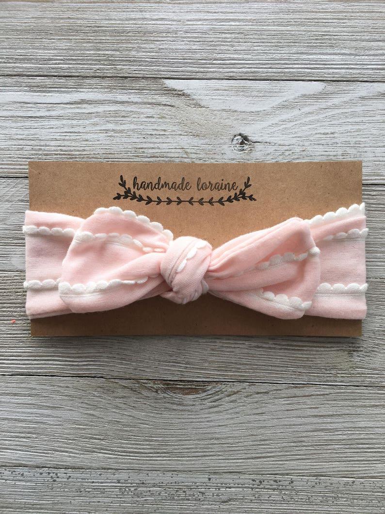 b8141b97b Pink Scallop Headband Top Knot Headband Baby Headband | Etsy