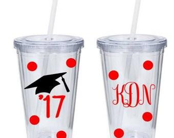Graduation Tumbler - Class of 2017 - '17 Monogramed Tumbler