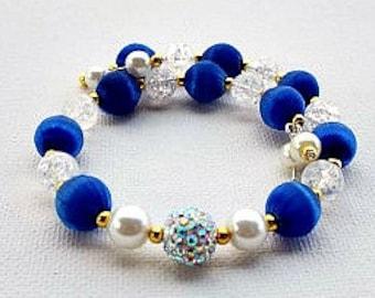 Blue Pearl Bracelet Unique Blue Jewelry Blue Dress Bracelet Royal Blue Crystal Jewellery Mothers Day Gift Something Blue Fancy Blue Bracelet