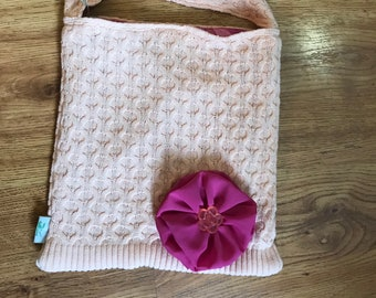 Peach repurposed sweater purse